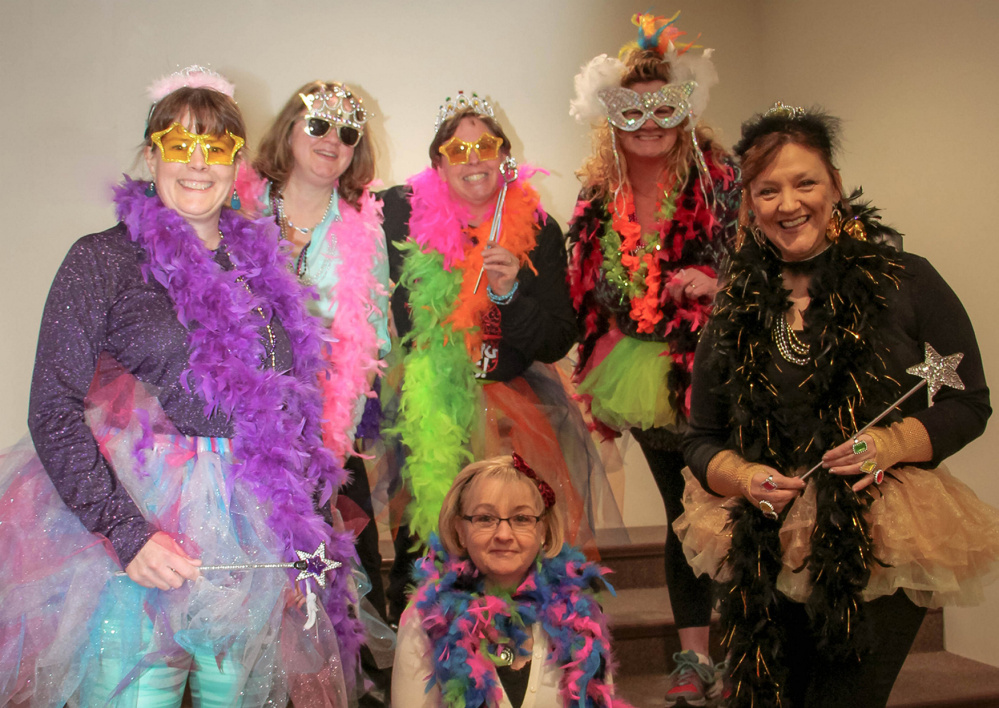 The K-2 team dressed up like Fancy Nancy, sitting is Wendy Walkins; and standing, from left, are Lori Urquhart, April Spencer, Carol Birch, Becky Marks and Debbie Demos.