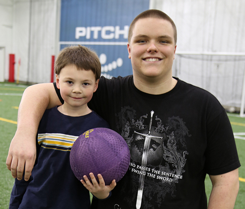 """""""Little Brother"""" Gage Hopkins and his """"Big Brother"""" and high school mentor Sam Bailey were recognized as Big Brothers Big Sisters of Mid-Maine's 2016 School-Based Match of the Year. Sam and Gage meet weekly during the school year as part of the weekly mentoring program at Nobleboro Central School."""