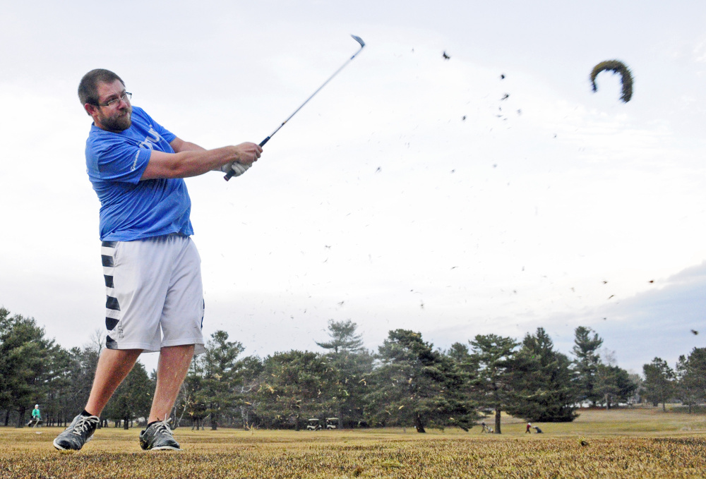 Chris Hamel hits his golf ball on the 18th hole of the Arrowhead course at Natanis Golf Club in Vassalboro on Wednesday.