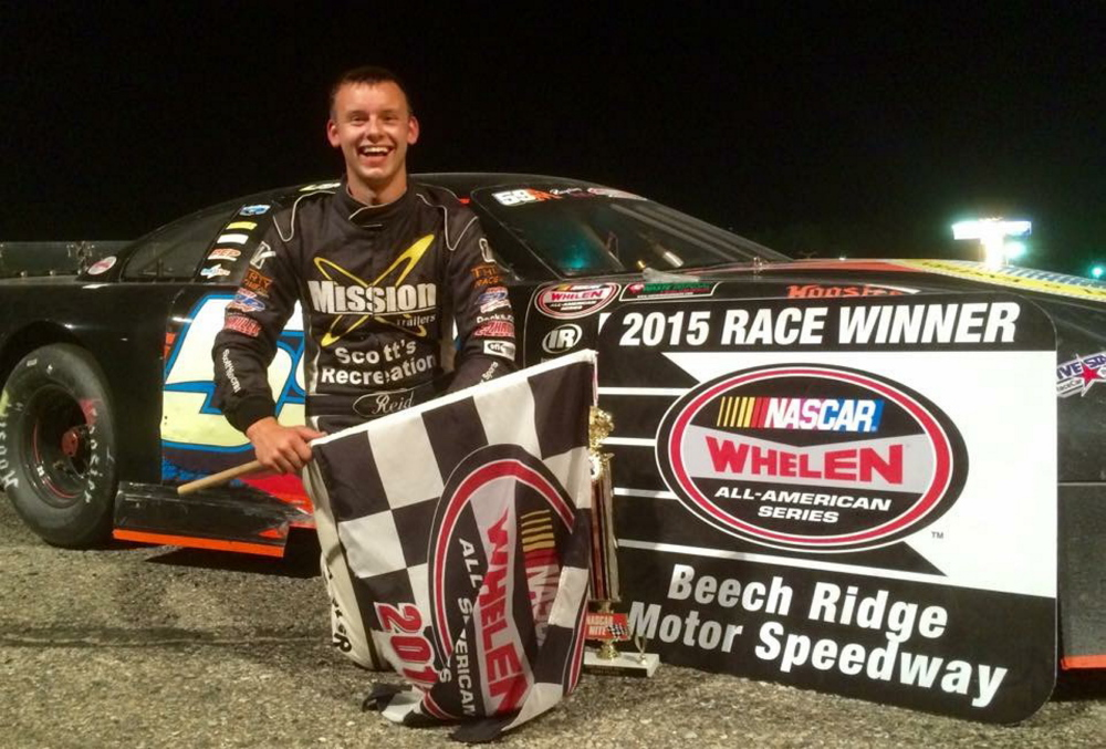 Manchester native Reid Lanpher celebrates after a win at Beech Ridge Motor Speedway in Scarborough last year. Lanpher has agreed to run five races in the NASCAR K&N Pro Series this season.