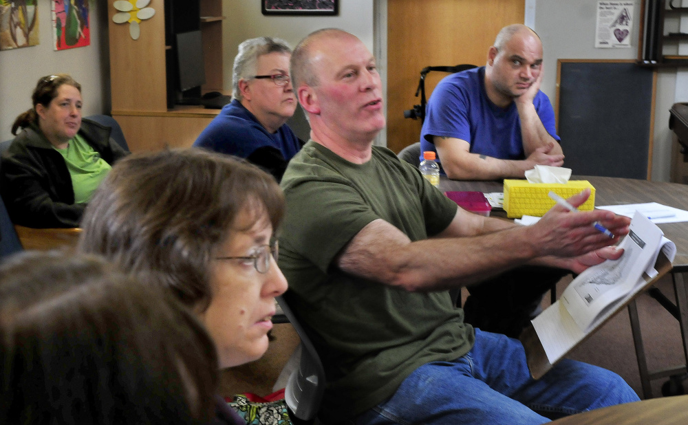 Gary Stevens, site manager of the Waterville Social Club, spoke during a meeting Thursday to discuss the possibibility the peer-suport center for people recovering from mental illness may close.