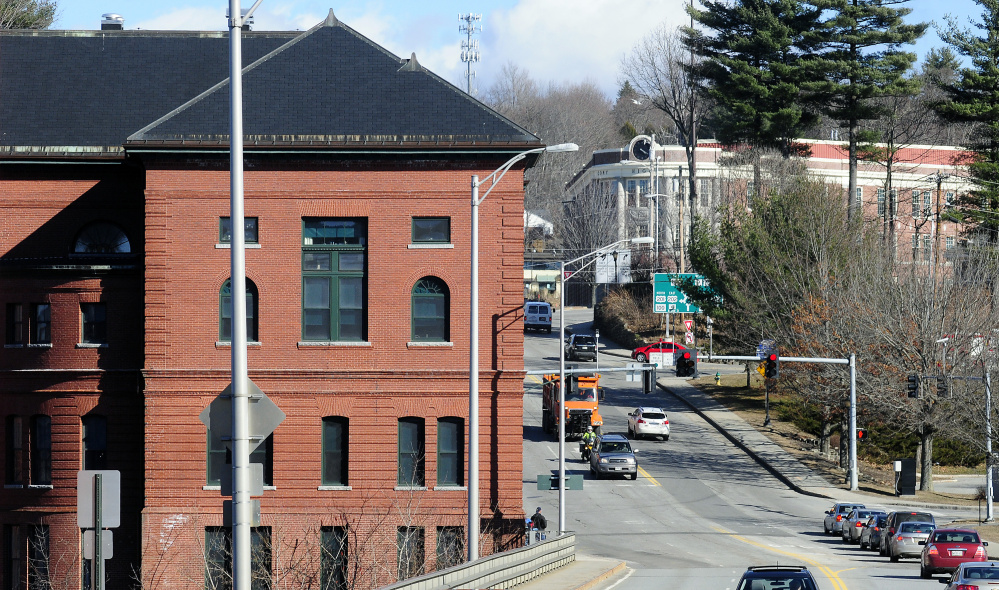 The Inn at City Hall, left, and the Cony Flatiron Senior Residences in Augusta, in the distance, shown in this file photo from earlier this month, are some of the senior housing options in the city.