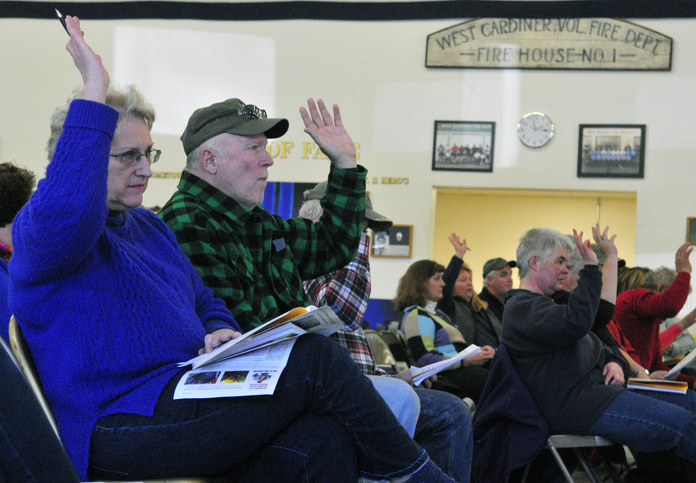 Residents vote during the annual West Gardiner Town Meeting on Saturday in the West Gardiner fire station.