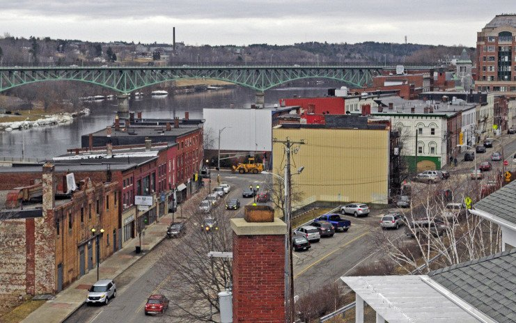 This photo taken in March shows the Colonial Theater, bottom left, and a part of downtown Augusta, which is included in the city's proposed historic district.