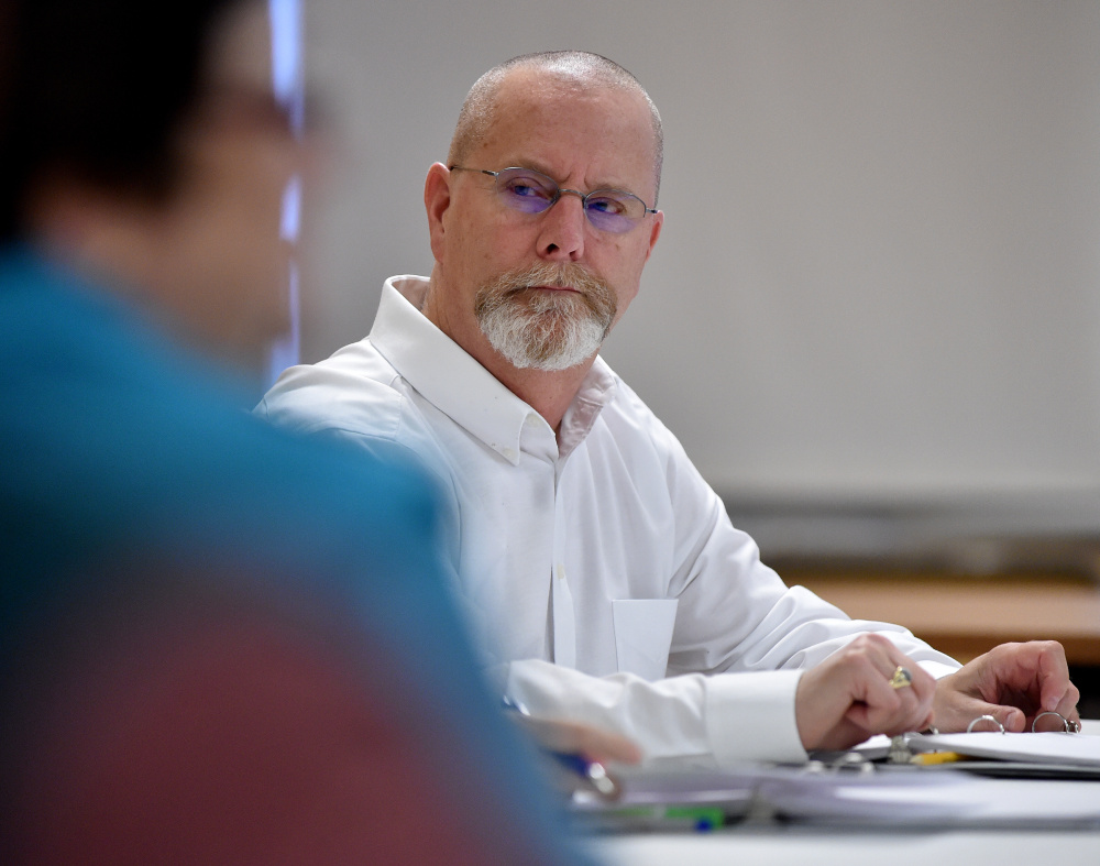 Councilman Steve Soule, D-Ward 1, listens during the review on Tuesday of budgets for information technology, health and welfare, planning, code enforcement, economic development and the Fire Department in the Council Chambers at City Hall in Waterville.