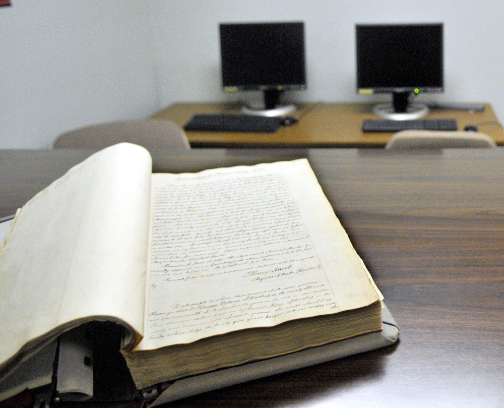 The first book, from 1799, of the Kennebec County Registry of Deeds is shown in this file photo.
