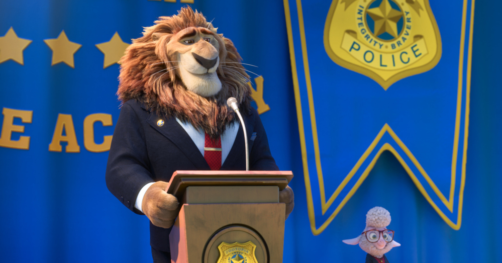 "Mayor Lionheart, voiced by J.K. Simmons, left, and Assistant Mayor Bellwether, voiced by Jenny Slate, appear in a scene from the animated film ""Zootopia."""