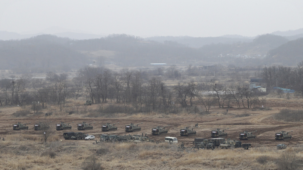 In this  Monday, March 7, 2016, file photo, South Korean army K-9 self-propelled howitzers take on a position during an annual exercise in Paju, near the border with North Korea. Massive joint U.S.-South Korea military exercises are a spring ritual on the Korean Peninsula guaranteed to draw a lot of threat-laced venom from Pyongyang.