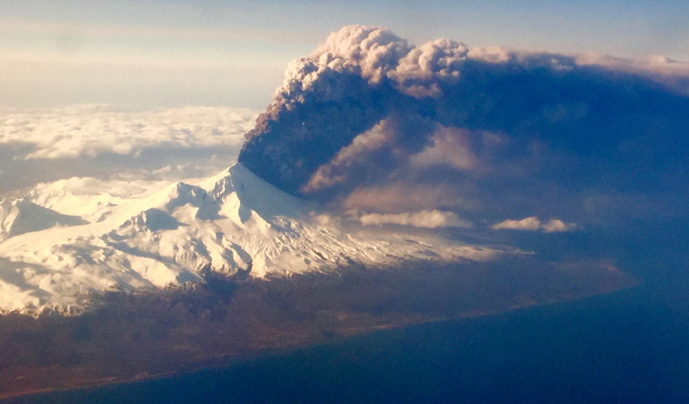Pavlof Volcano in Alaska erupts on Sunday, sending a plume of volcanic ash into the air.
