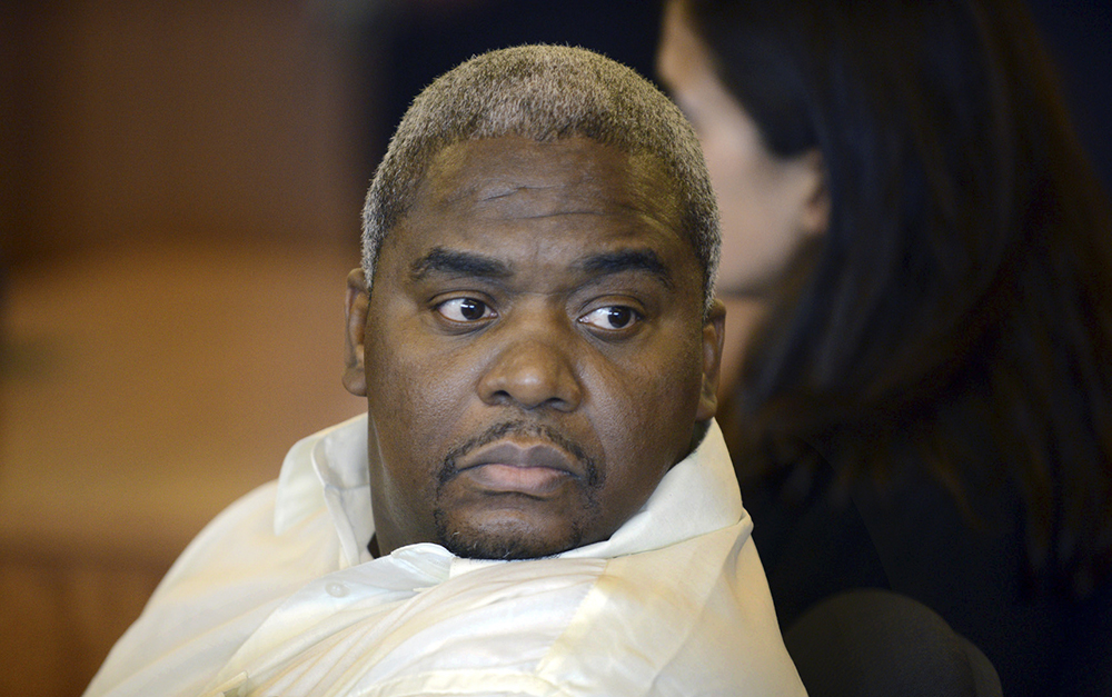 Ernest Wallace, a co-defendant of ex-New England Patriots player Aaron Hernandez, attends a June 26, 2015, conference at Bristol County Superior Court in Fall River, Mass. Boston Herald via AP