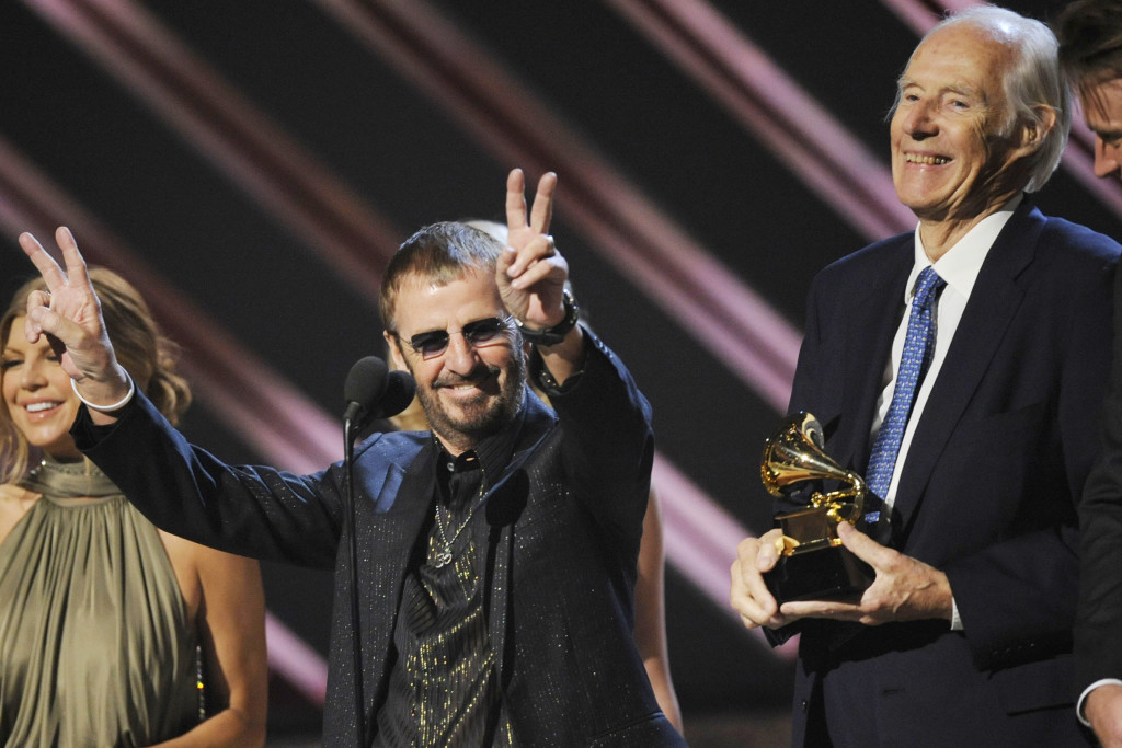 """Ringo Starr and Beatles producer Sir George Martin accept the best compilation soundtrack album award for """"Love"""" during the 50th annual Grammy awards In this Feb. 10, 2008, photo.  The Associated Press"""