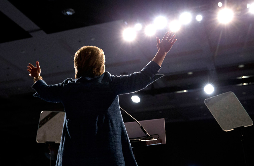 Hillary Clinton speaks at her election night event in West Palm Beach, Fla.