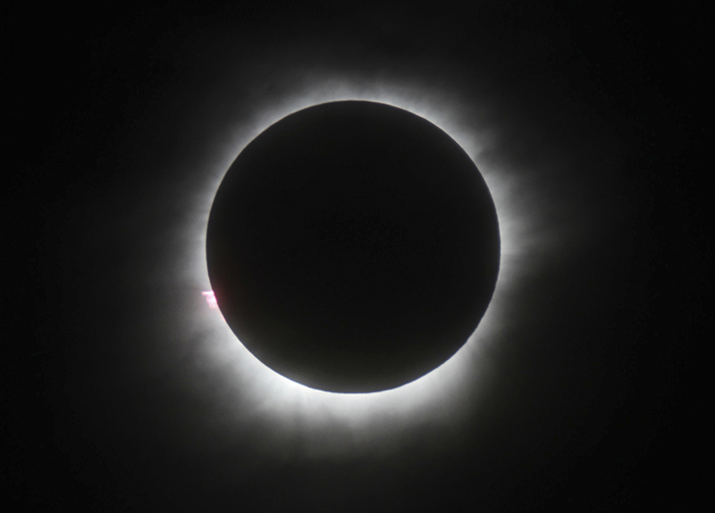 The total solar eclipse is seen in Belitung, Indonesia.