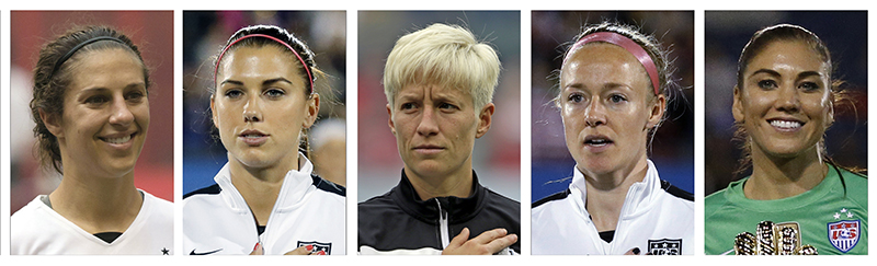 World Cup-winning national team from left: Carli Lloyd, Alex Morgan, Megan Rapinoe, Becky Sauerbrunn and Hope Solo. All five have accused the U.S. Soccer Federation of wage discrimination.