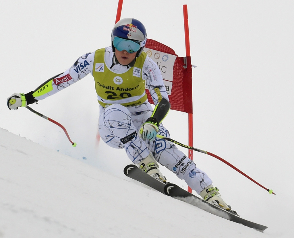 Lindsey Vonn speeds down the course during a women's World Cup, combined race, in Soldeu, Andorra, on Sunday.  She had crashed Saturday in a super-G race and injured her left knee injury.