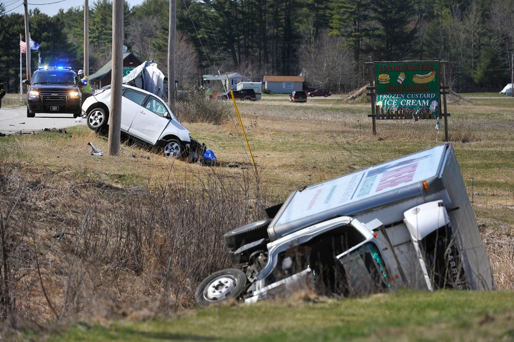 The driver of the car, Adam Perron of Harrison, died in this two-vehicle crash on Route 302 in Casco on Wednesday.