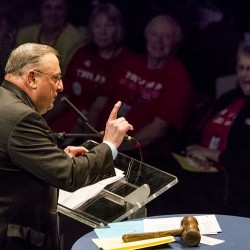 Gov. Paul LePage delivers a keynote address at the Maine Republican Party's state convention at the Cross Insurance Center in Bangor on Saturday, April 23, 2016.