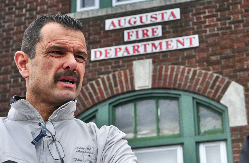 Augusta Fire Chief Roger Audette talks about the Hartford fire station during an interview on Friday in Augusta. The 96-year-old station on top of Rines Hill above downtown Augusta needs some repairs.
