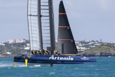 Swedish-based Artemis Racing is one of a handful of challengers for the 2017 America's Cup race. The boat, made of carbon fiber, measures about 50 feet long. Zack Parent, a 2008 Messalonskee High School graduate, helped build the boat.