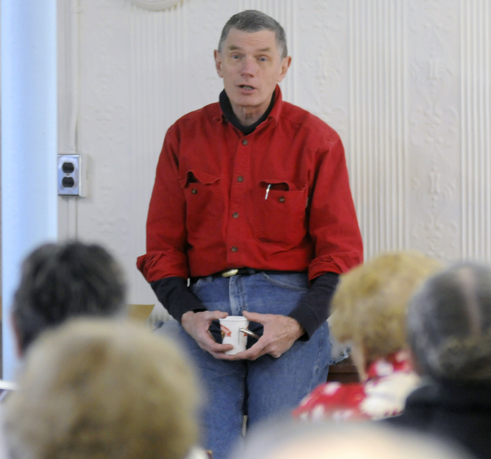 Developer Les Fossel discusses his plans for Hathorn Block during a talk on Sunday in Richmond.