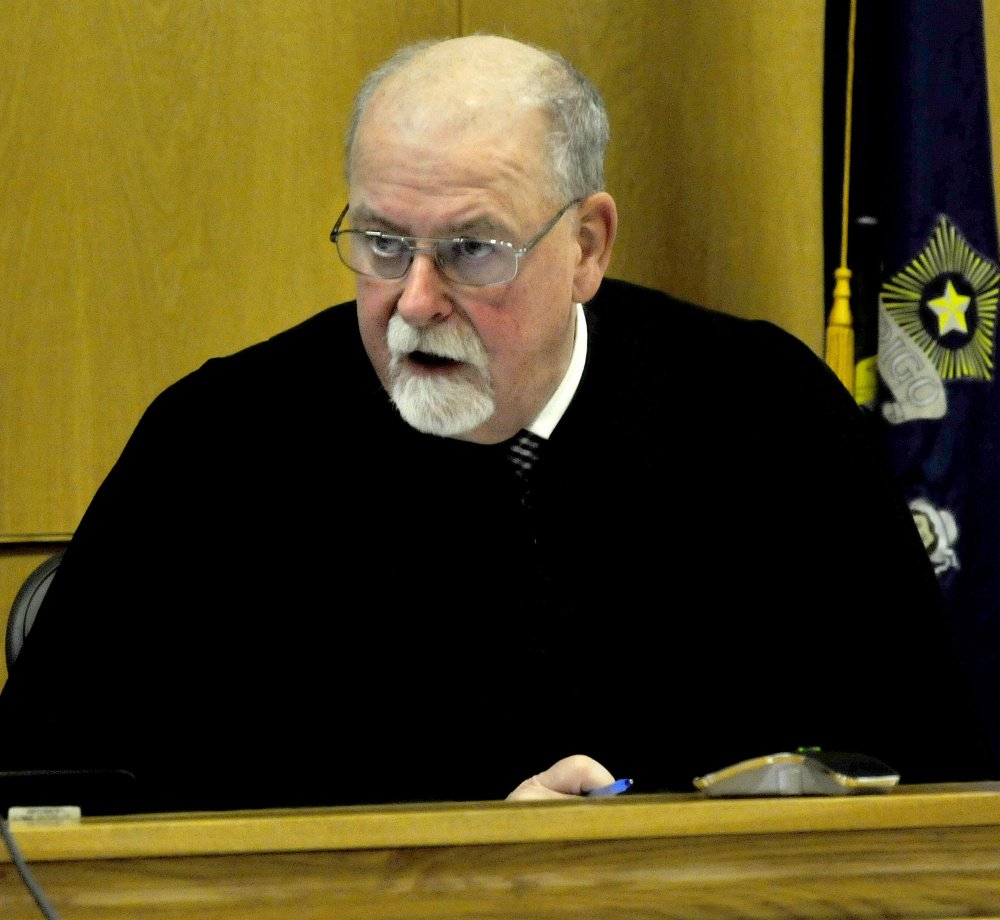 Justice Charles LaVerdiere presides over a hearing for murder defendant Jeremy Erving on Monday in Skowhegan District Court.