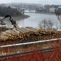 A worker unloads logs in a wood yard at the Madison Paper Industries, with the mill in the background, in March. The U.S. Department of Labor has approved funding for a program that will help retrain the more than 200 workers who will lose their jobs when the mill closes in May.