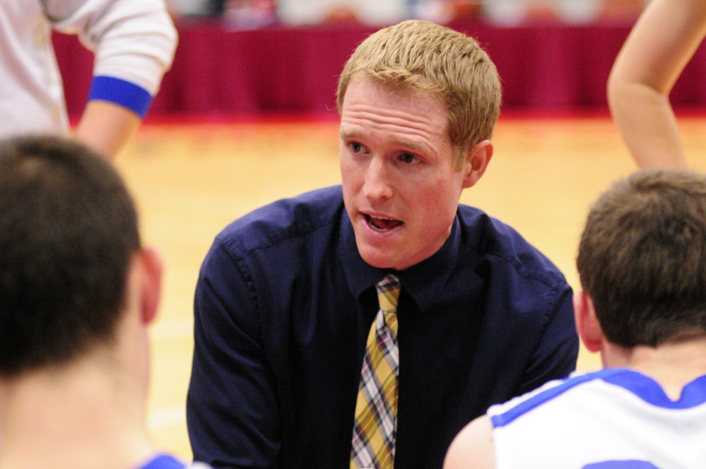 Valley coach Luke Hartwell gives instructions to his team during a timeout of a Class D South semifinal against Greenville at the Augusta Civic Center. Hartwell recently resigned, the school confirmed Wednesday.