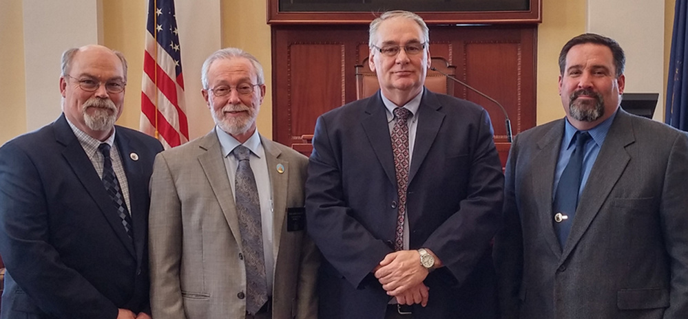 Contributed photo Officials from Madison joined Sen. Rod Whittemore on March 22 at the State House. Their visit included a meeting with Gov. Paul LePage. From left are:Jack Ducharme, Sen. Whittemore, Paul Fortin and Tim Curtis.