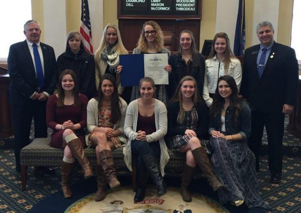 AUGUSTA — Sen. Scott Cyrway (R-Kennebec) honored the Lawrence girls' basketball team for their accomplishments over the past season on March 30 at the State House. He also presented Nia Irving with a Legislative Sentiment recognizing her for being named Miss Maine Basketball 2016. In front, from left, are Morgan Boudreau, Kiana Letourneau, Dominique  Lewis, Camryn Caldwell and Olivia Patterson. In back, from left, are Coach John Donato, Brooklynn Lambert, Cassidy Quint, Nia Irving, Molly Folsom, Hunter Mercier and Sen. Scott Cyrway.