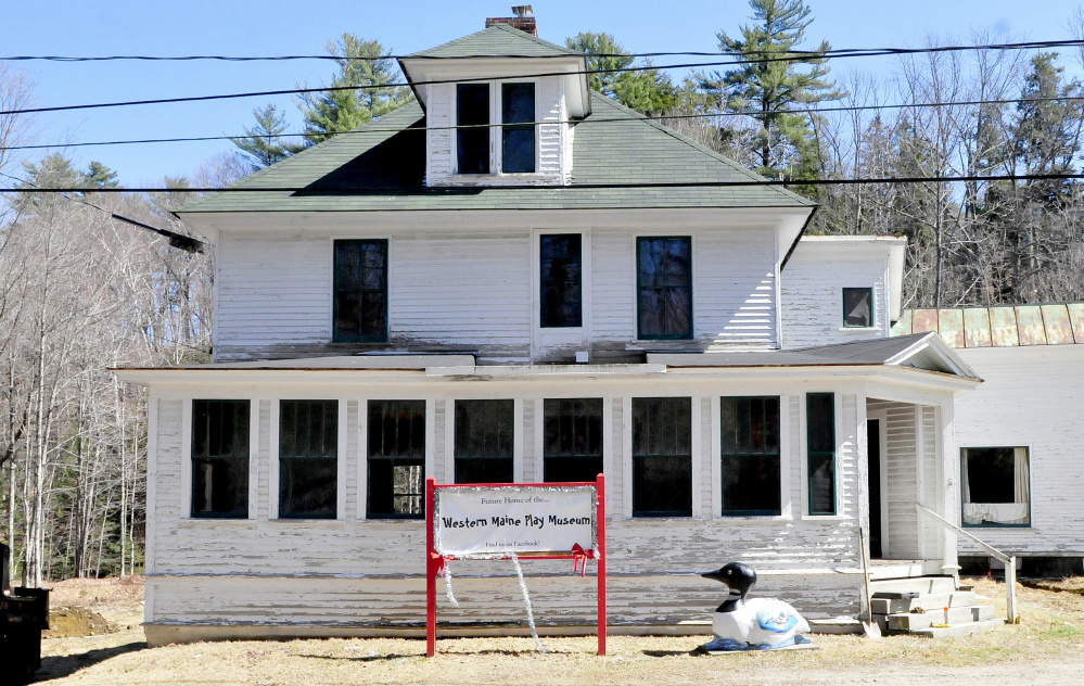 The Western Maine Play Museum is under construction on Main Street in Wilton on Wednesday.