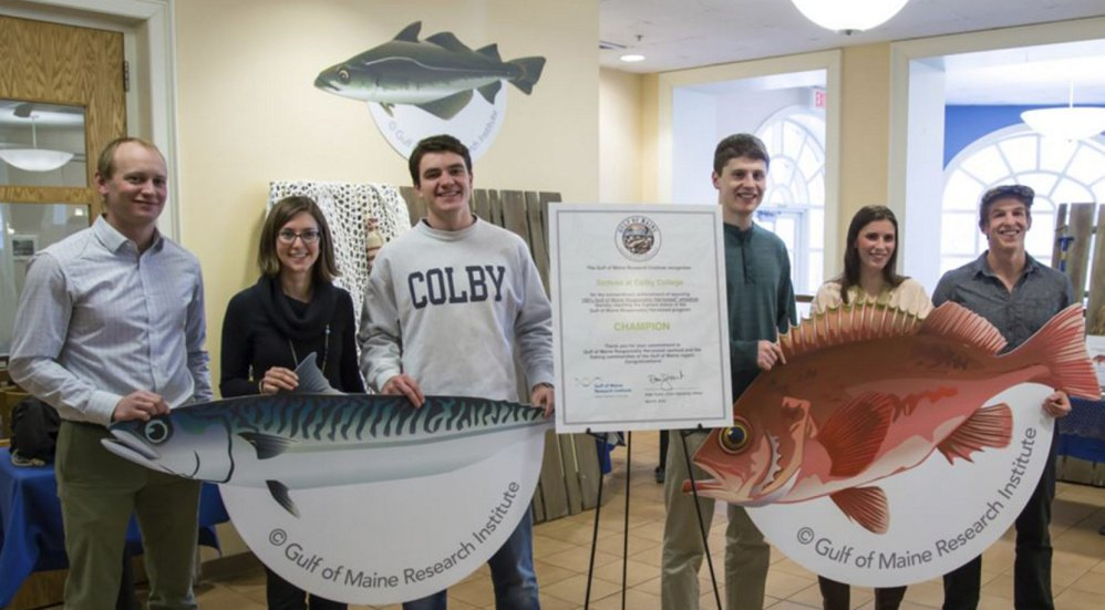 The Gulf of Maine Research Institute, which oversees ocean stewardship and economic growth in the Gulf of Maine region, recognized Colby College in Waterville as the first educational institution to serve 100 percent Gulf of Maine responsibly harvested whitefish. From left are Kevin Bright, Colby College sustainability coordinator; Kyle Foley, the institute's sustainable seafood brand manager; and Colby College Student Dining Advisory Committee members Tim Gallagher, Cal Barber, Mara Badali and Jake Lester.