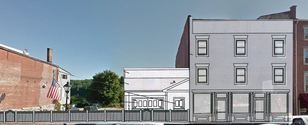 This photo illustration shows what the Quarry Tap Room expansion would look like from across Water Street in downtown Hallowell.