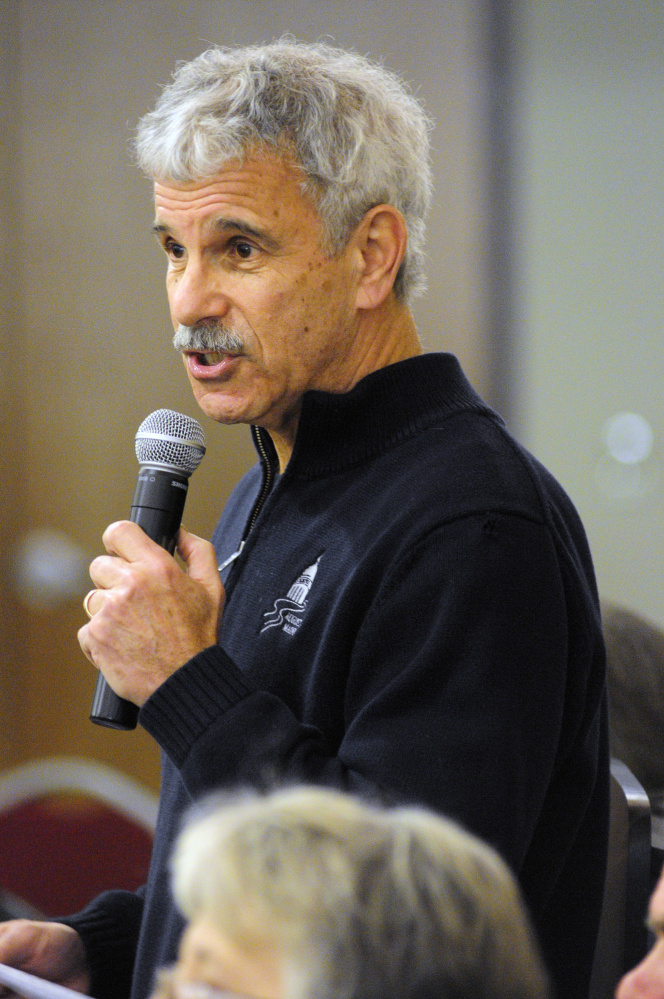 Sen. Roger Katz, R-Augusta, opens a meeting of Riverview staffers and legislators on Jan. 19 at the University of Maine at Augusta. Katz sponsored emergency legislation, approved late last week, that will increase pay for some Riverview workers.