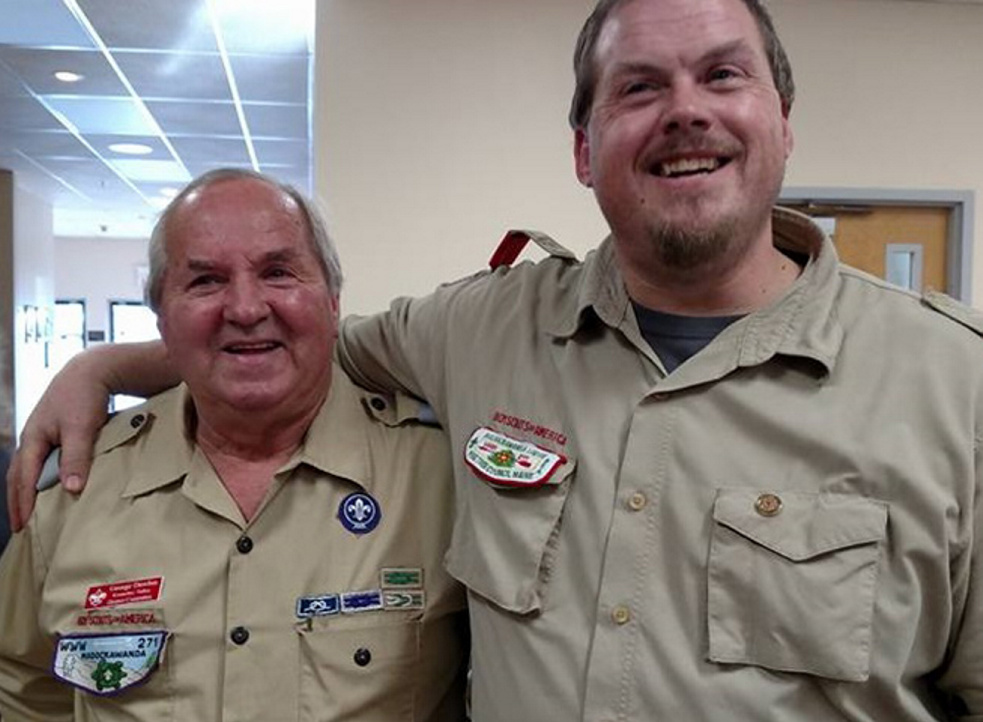 "George ""Chummy"" Dawbin, left, was presented with the Lifetime Service Award for his more than 50 years of service to Scouts in West Gardiner, by his son, George ""Butch"" Dawbin, both of West Gardiner. The presentation was made during the annual Volunteer Recognition Dinner at the Waterville Lodge of Elks."