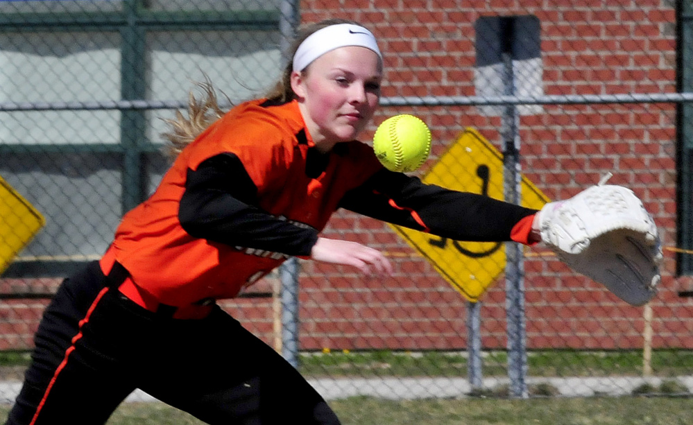 Skowhegan's Wylie Bedard reaches for the ball during a game against Cony on Wednesday in Skowhegan.
