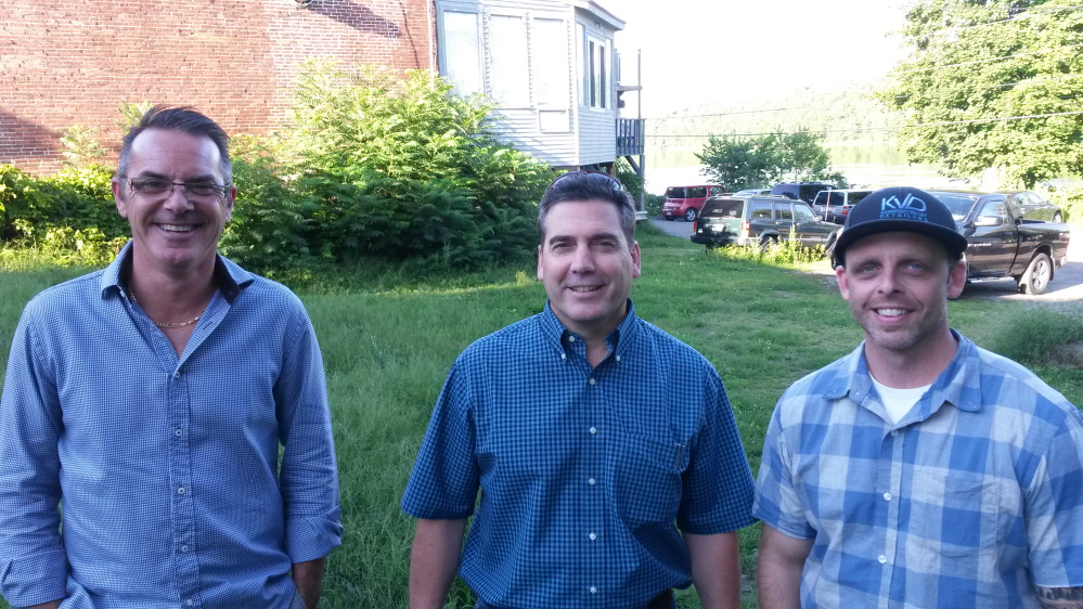 Chris Vallee, Steve Lachance and Larry Hunter, co-owners of The Quarry Tap Room in Hallowell, purchased the lot next door to their bar and restaurant last year and hope to turn it in to outdoor seating.