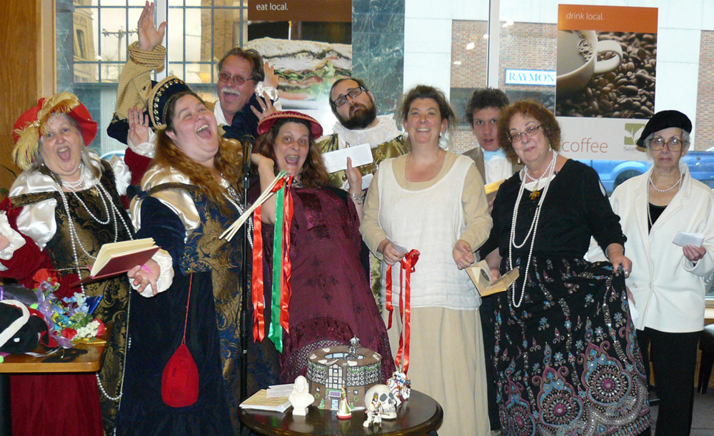 Recycled Shakespeare Company, from left, Lyn Rowden, Emily Fournier, Joe Rowden, Cindi Bailey, Joshua Fournier, Dawnella Sutton, Jakob Sutton, Susan Webber and Nancy Karter. The annual Bard's Birthday Bash in honor William Shakespeare is set for Saturday, April 23.