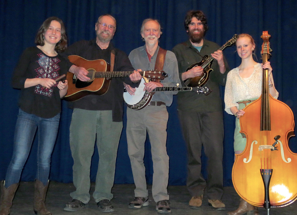 Maranacook String Band will perform in concert at 6 p.m. Saturday, April 30, at the Ladd Center, 26 Gott Road, Wayne. Members, from left, are Dana Reynolds, Stan Keach, Bud Godsoe, Dan Simons and Julie Davenport.
