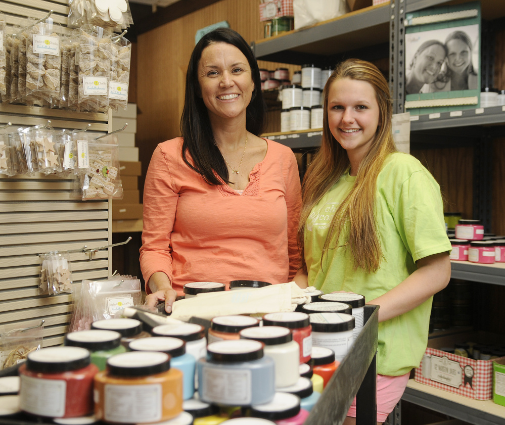 Chalky & Co. co-founders Buffy Dumont, left, and her daughter Abby Hoffay at the Monmouth firm on Thursday.