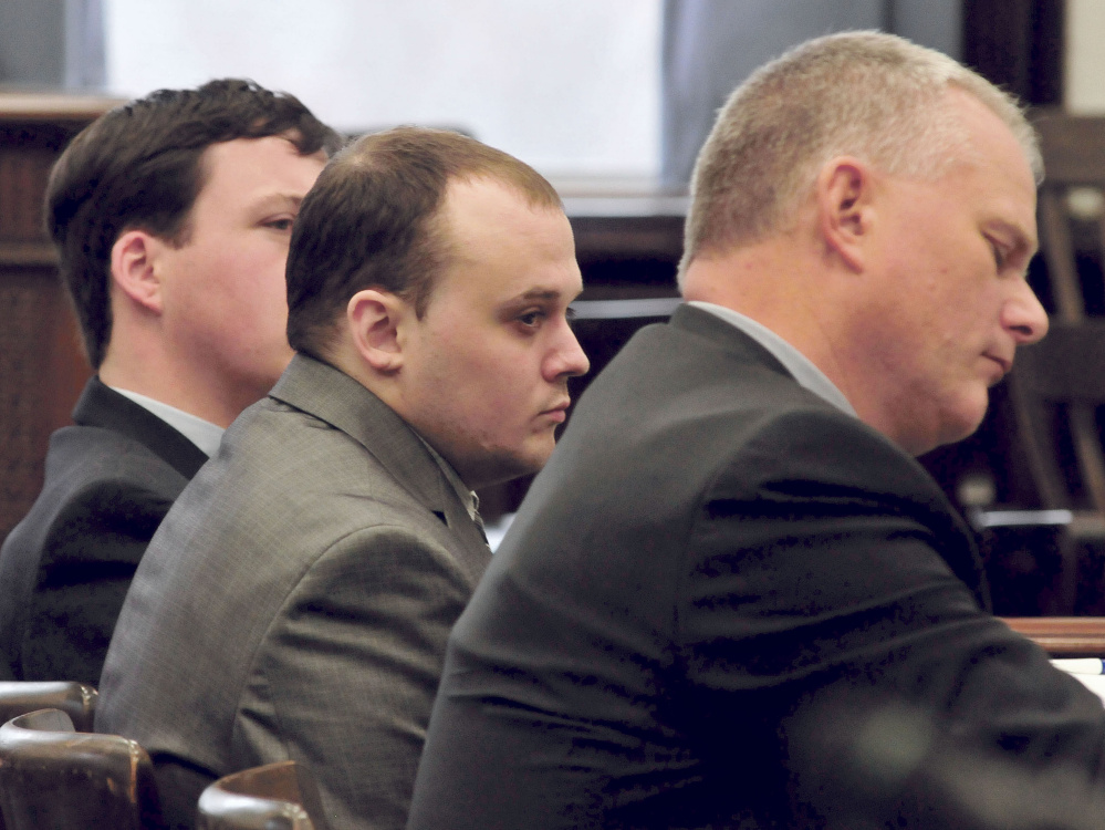 Defendant Jason Cote, center, sits between his attorneys Caleb Gannon, left, and Stephen Smith during closing arguments Dec. 17 in Somerset County Superior Court in Skowhegan. Cote was convicted and sentenced to 45 years in prison in February, and Smith filed an appeal days afterward. Smith and Gannon field a motion to withdraw from the case last week.