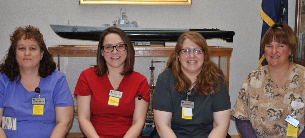 The Maine Veterans' Home in Augusta recently welcomed, from left, Sherry Slonina, Dakota McArthur, Samantha Slonina and Heidi McQuillan as its newest certified nursing assistants.