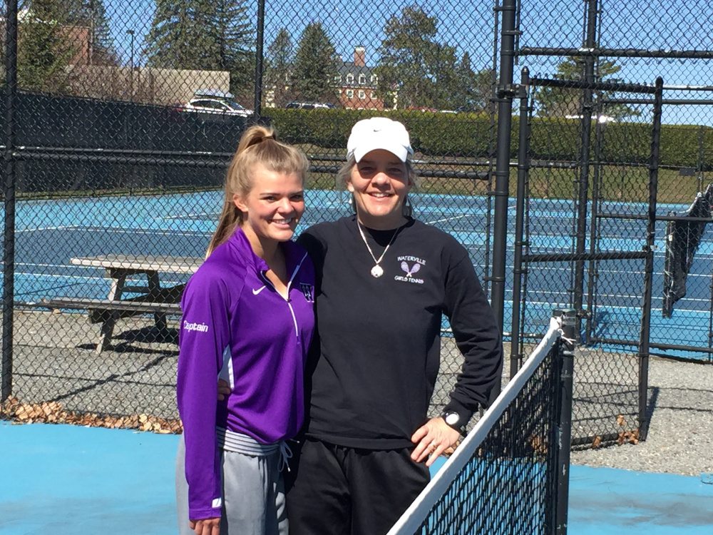Emma Cristan, left, is the No. 1 singles player for Waterville Senior High School, while Jill Cristan, Emma's mother, is the coach.