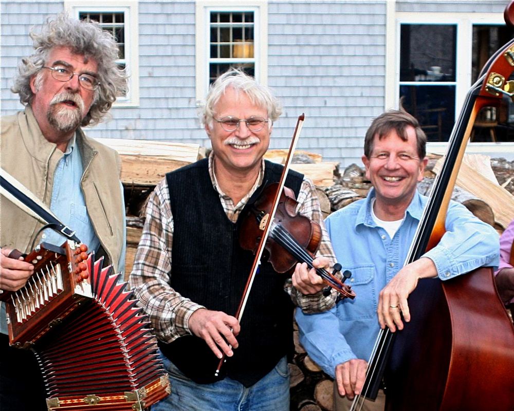 The Rangeley Friends of the Arts is sponsoring a day of music and dance folk history with Old Grey Goose on Wednesday, April 27 at the Rangeley Lakes Regional School. Old Grey Goose  members from left, are Jeff McKeen, Doug Protsik and Eric Rolfson.