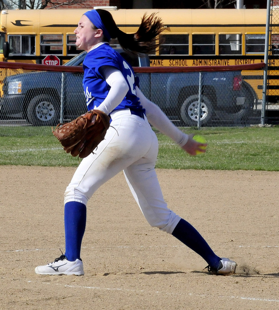 Messalonskee starting pitcher Kirsten Pelletier delivers a pitch during a game against Skowhegan on Monday afternoon.