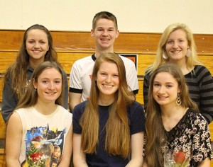 Erskine Academy students and staff attended a Renaissance Assembly on April 8 to honor their peers with Renaissance Awards. Seniors of the Trimester, front, from left, are Rachel Read, Abigail Cooper, and Autumn Read. Back, from left, are Theresa Gervais, Raymond Weymouth and Mallory Chamberlain.