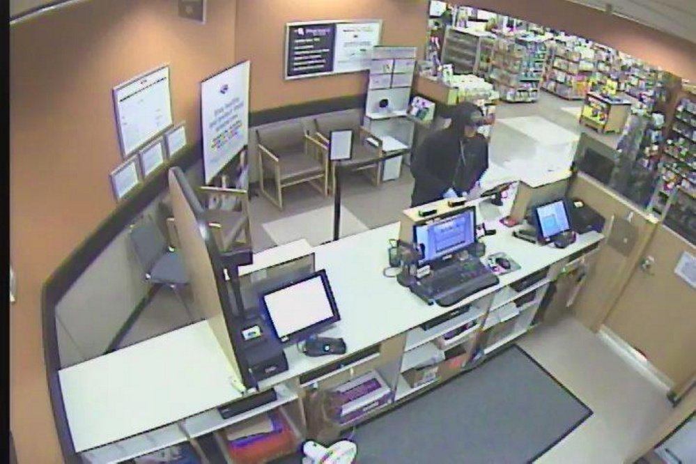 The Kennebec County Sheriff's Office released this surveillance photo Monday night from the Hannaford supermarket in South China. It shows the man who reportedly robbed the pharmacy there.