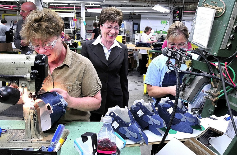 Sen. Susan Collins toured the New Balance factory in Norridgewock several years ago to see how footwear is made and speak with employees. Collins later received an award for her legislative work with the manufacturing industry.