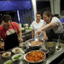 Noted chef Sara Jenkins, right, spends time at a kitchen in Cuba in 2012. Jenkins, often described as a rustic Italian cook, says she's looking forward to having more creative freedom when she opens a Rockport restaurant.