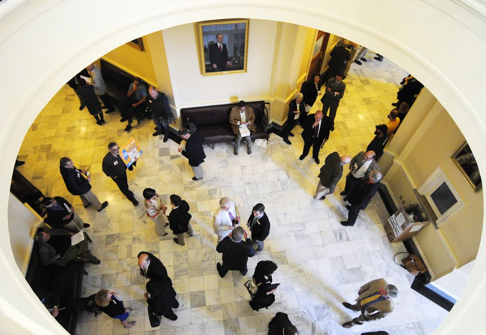 The halls were crowded with people lobbying legislators to override vetoes by Gov. Paul LePage on Friday at the State House in Augusta.