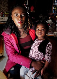 Aziza Perkins, a refugee from the Democratic Republic of Congo, and her daughter, Tiana, now live with their adoptive family in Norridgewock.